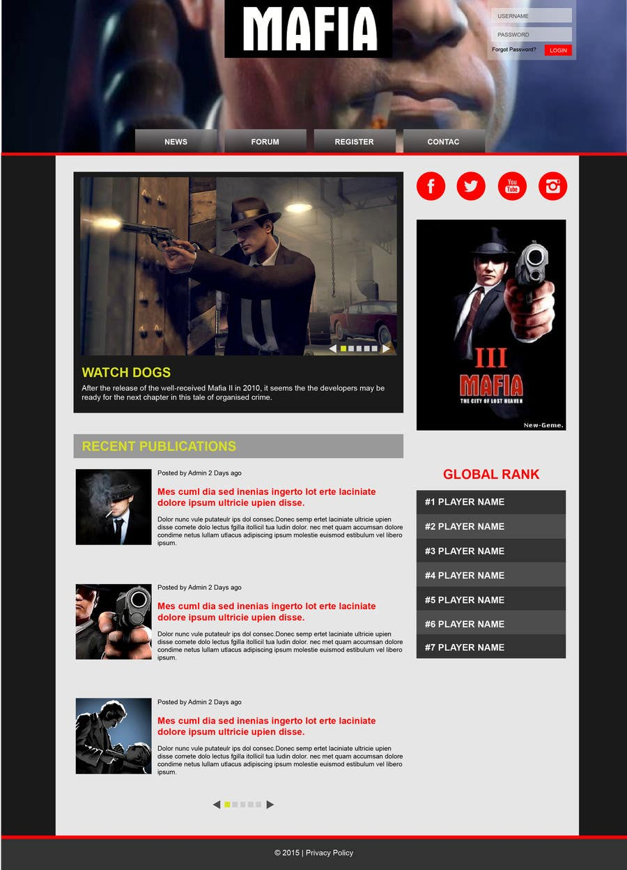 Penyertaan Peraduan #                                        4                                      untuk                                         Mafia Game website homepage design