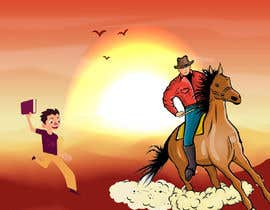 #1 for Cartoon image of professor riding into sunset ignoring a graduate student by ritadk