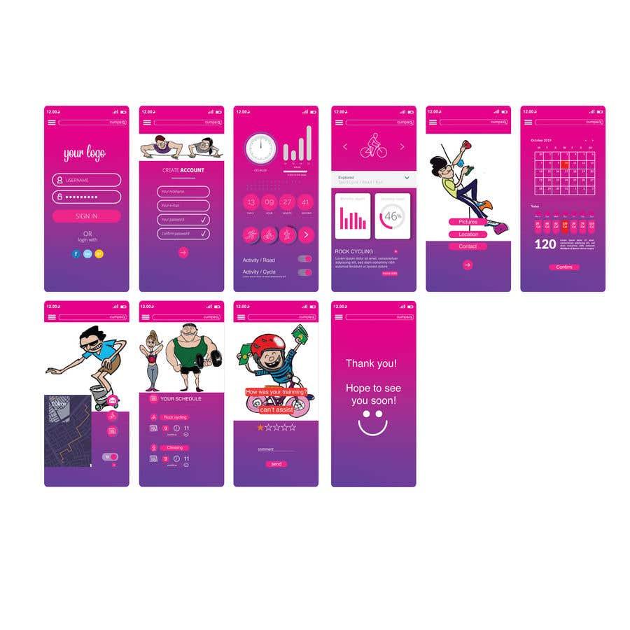 Kilpailutyö #19 kilpailussa UX UI design for gym members / Fitness app