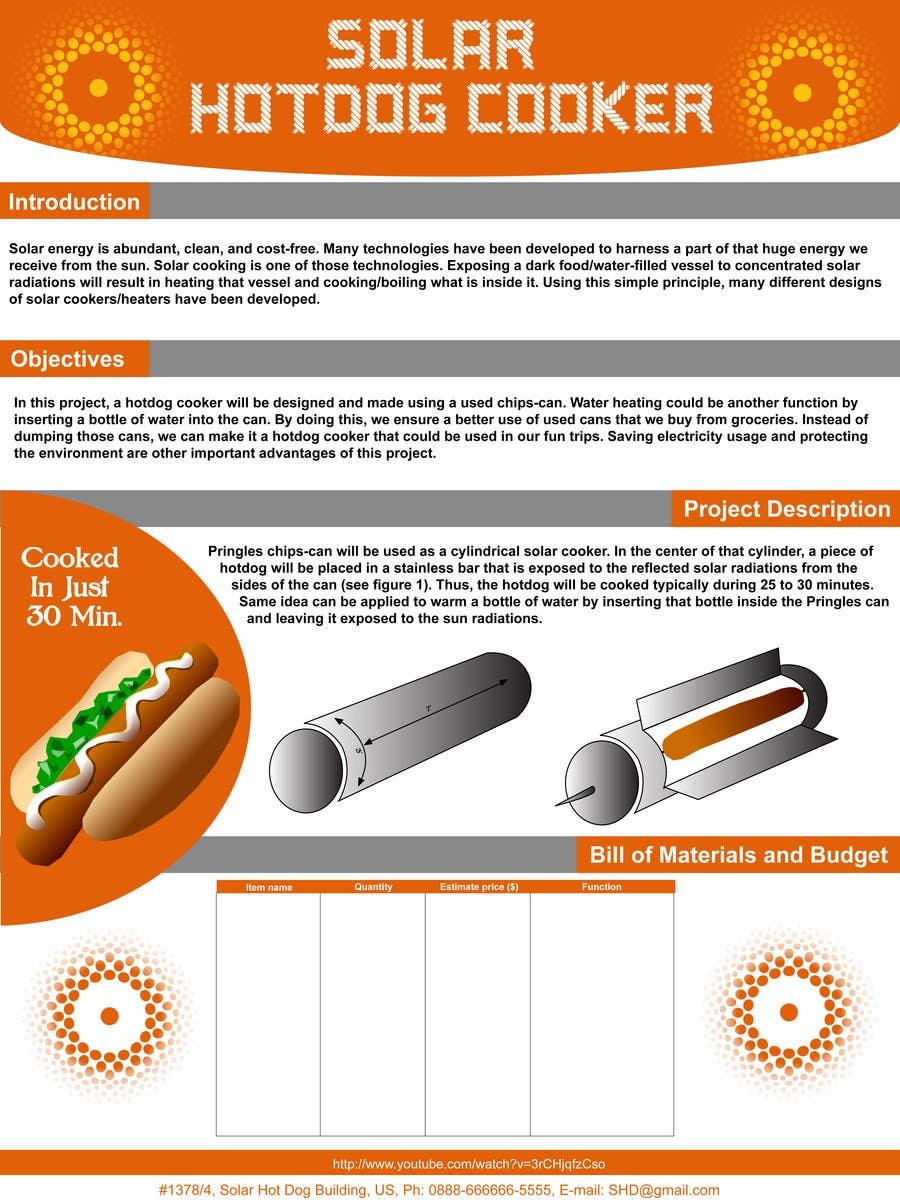Kilpailutyö #8 kilpailussa The Exciting Hot Dog Solar Cooker