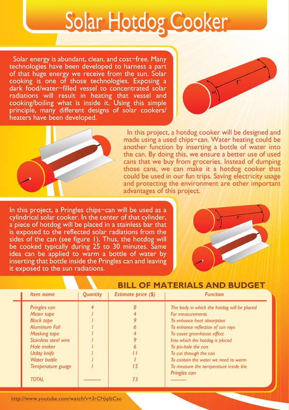 Inscrição nº                                         5                                      do Concurso para                                         The Exciting Hot Dog Solar Cooker