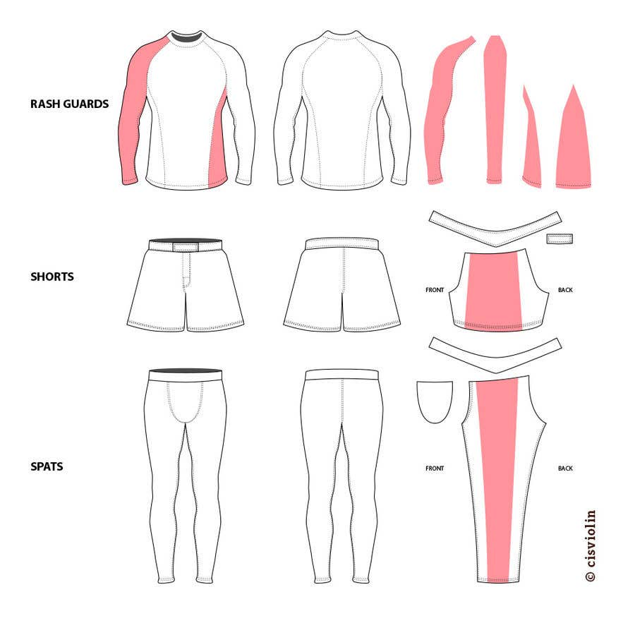 Kilpailutyö #2 kilpailussa I need Sewing patterns in AI files for Brazilian Jiujitsu Gi's, Spats, Rash-guards, and Shorts. The attached files are examples. I need them so I can send my design in to the manufacturing companies so that they can make my designs. Thank you!