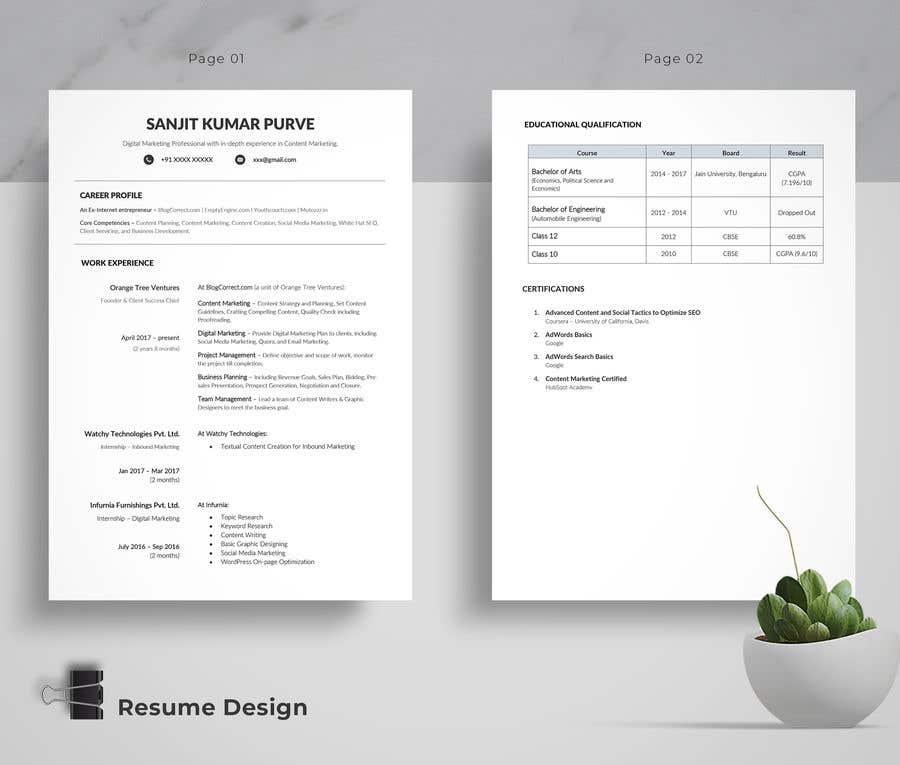 Konkurrenceindlæg #8 for Design me Resume - Two Variants