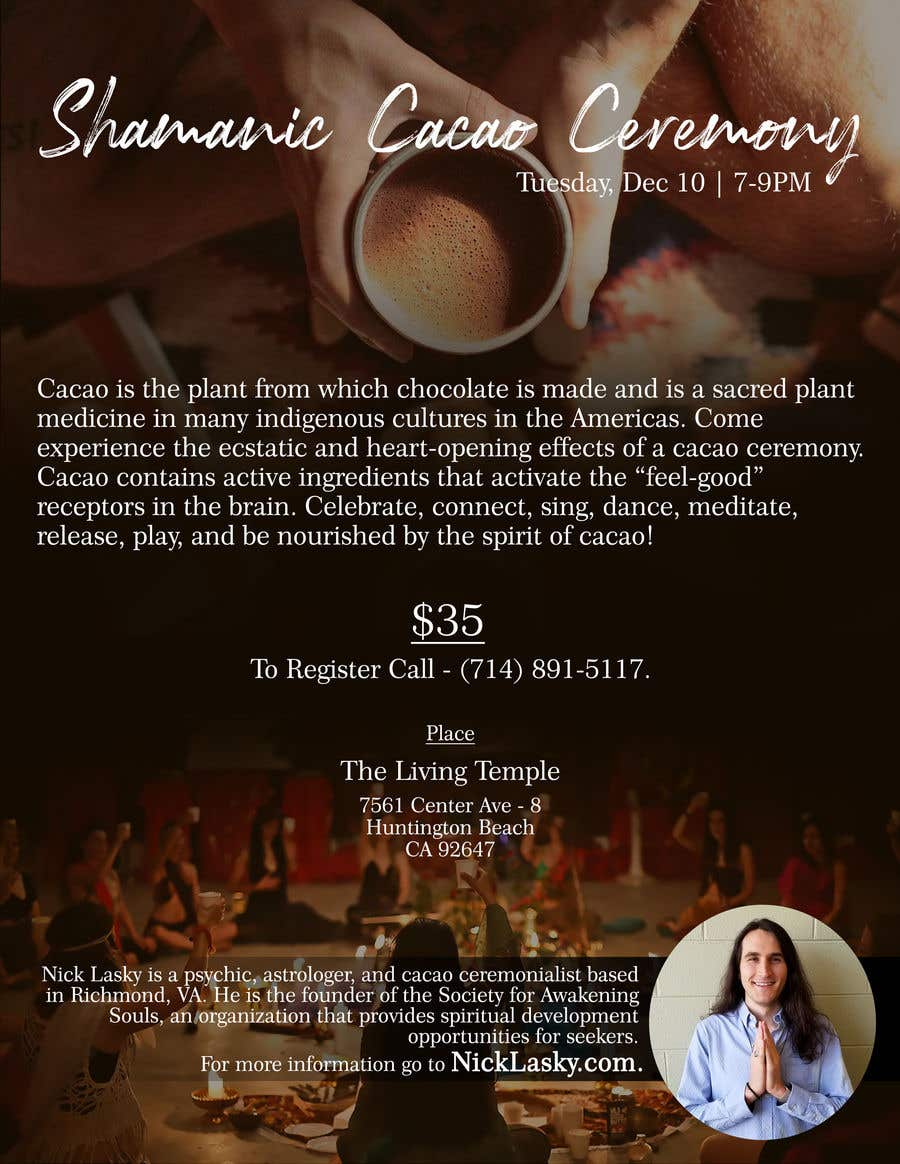 "Intrarea #54 pentru concursul ""Flyer for Cacao Ceremony"""