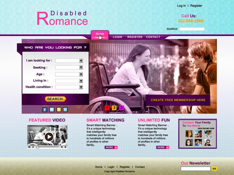 Bài tham dự cuộc thi #16 cho Website Design for Dating website homepage
