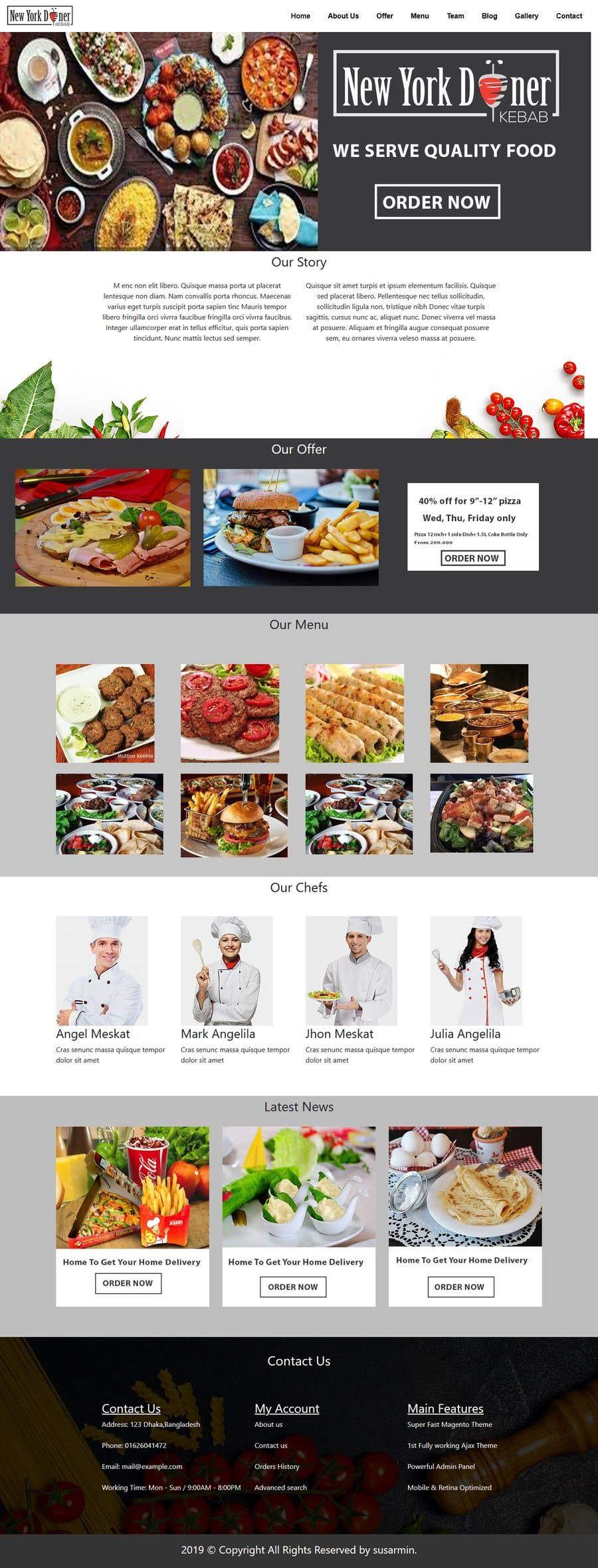 Kilpailutyö #40 kilpailussa Restaurant website