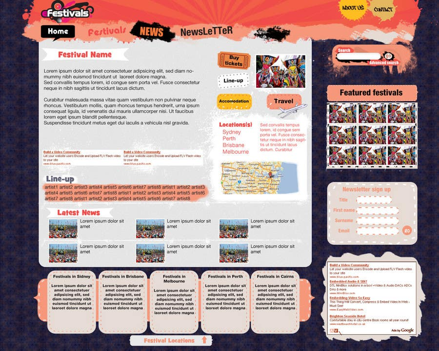 Natečajni vnos #                                        16                                      za                                         Website Design for eFestivals