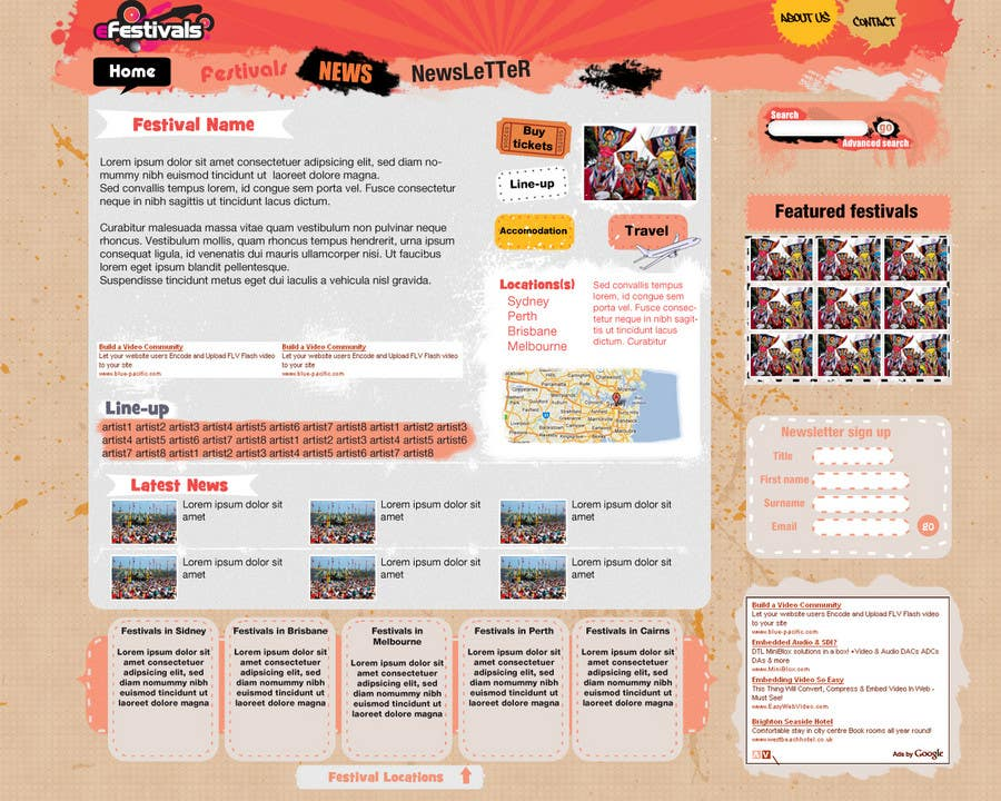 Inscrição nº                                         13                                      do Concurso para                                         Website Design for eFestivals