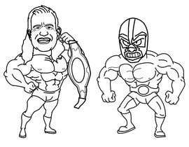 nº 8 pour caricature drawing of two wrestlers and one with my friends face and the other with mask par emmanuelsinu