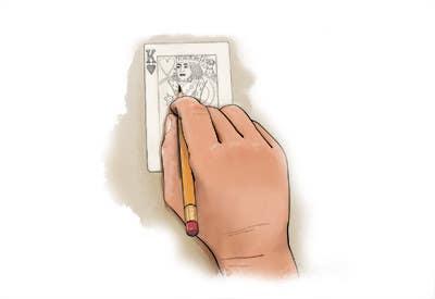 """Inscrição nº                                         15                                      do Concurso para                                         Illustration of  """"hand drawing a playing card"""""""