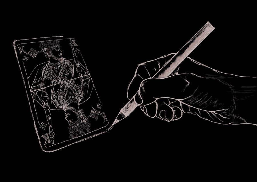 """Inscrição nº                                         4                                      do Concurso para                                         Illustration of  """"hand drawing a playing card"""""""