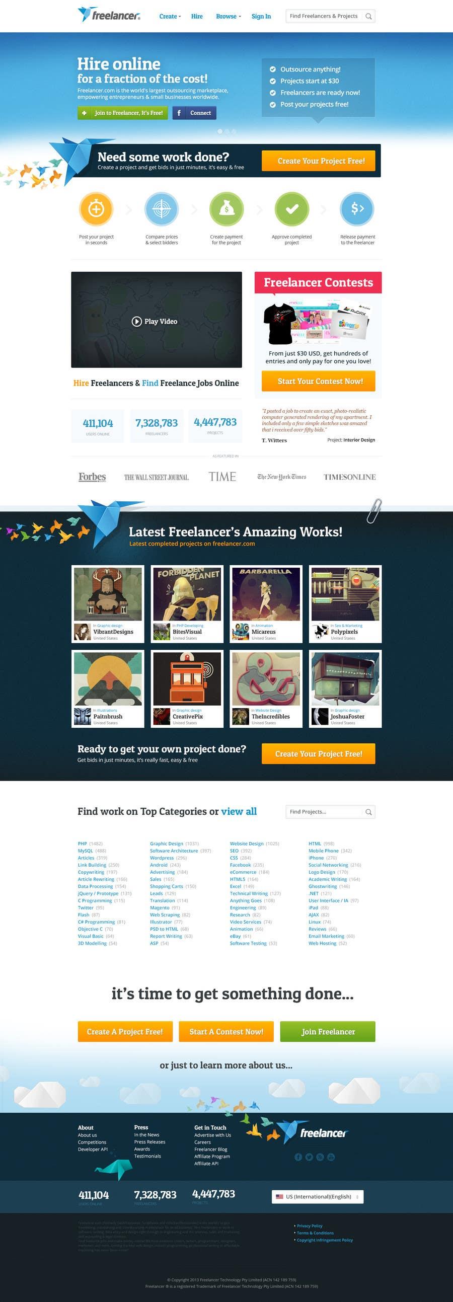 Contest Entry #264 for Freelancer.com contest! Design our Homepage!