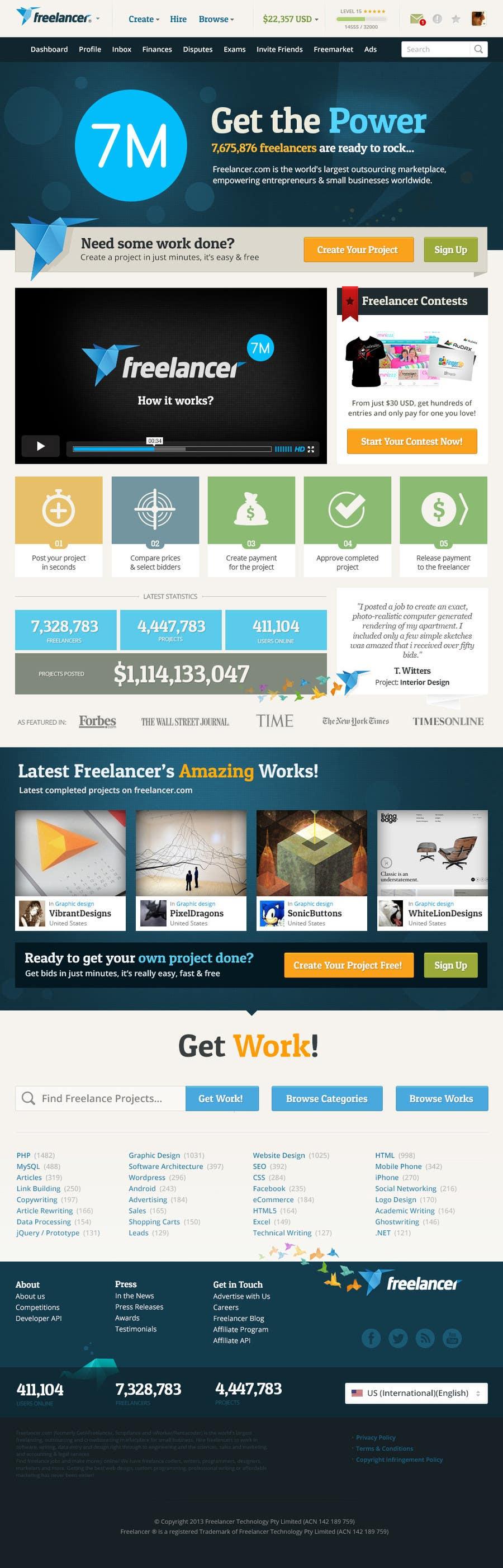 Website Design Contest Entry #717 for Freelancer.com contest! Design our Homepage!