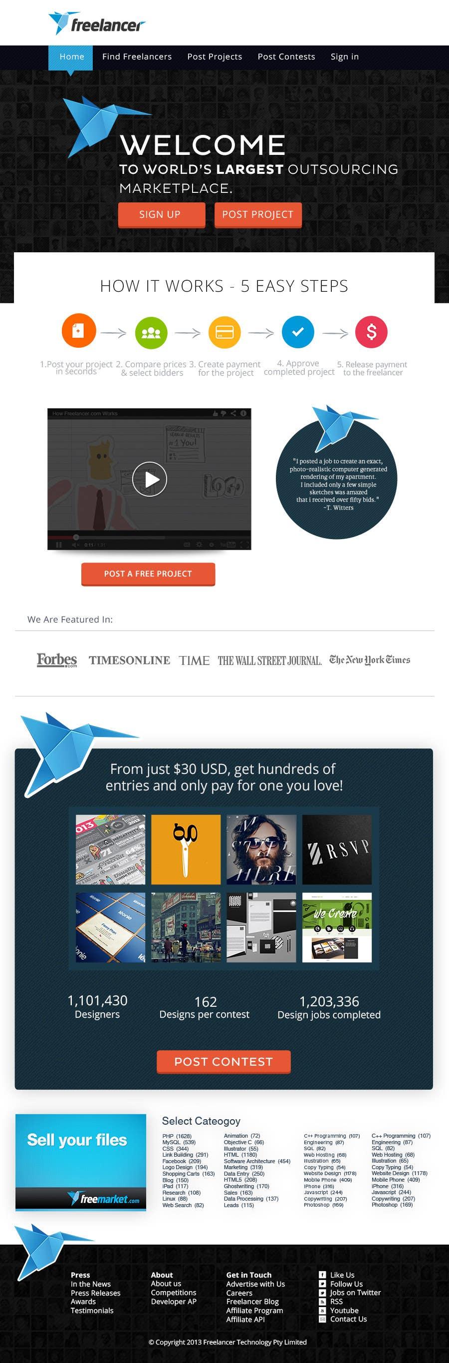 Contest Entry #354 for Freelancer.com contest! Design our Homepage!