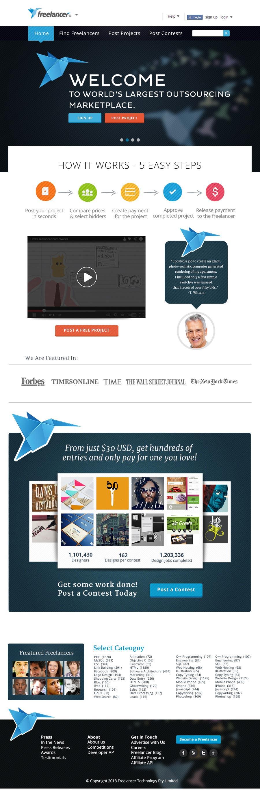 Graphic Design Contest Entry #479 for Freelancer.com contest! Design our Homepage!