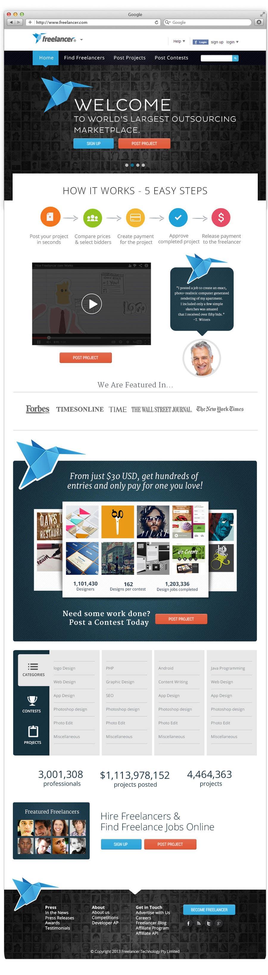 Contest Entry #706 for Freelancer.com contest! Design our Homepage!
