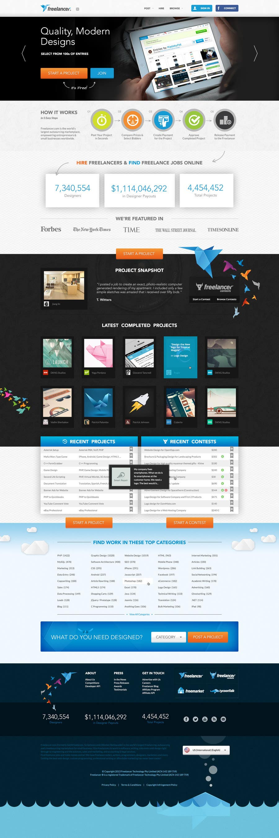 #579 for Freelancer.com contest! Design our Homepage! by MadebyPat