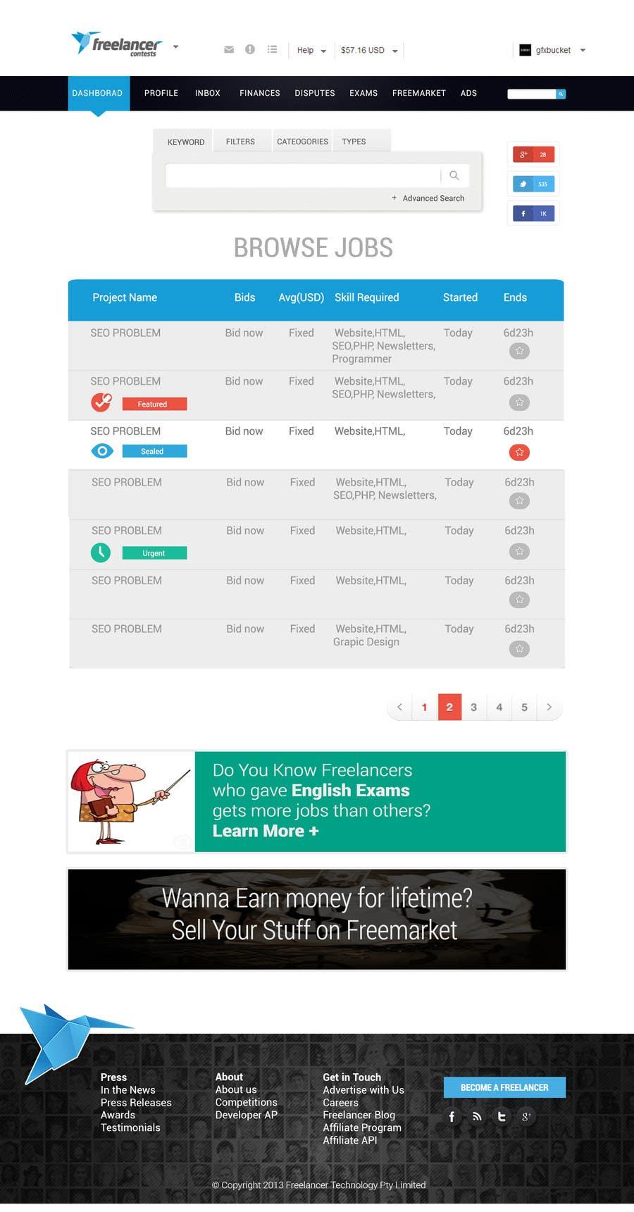 Contest Entry #                                        40                                      for                                         Freelancer.com contest! Design our Browse Jobs Page!