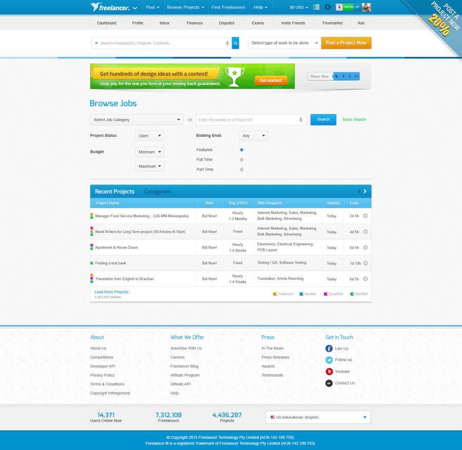 Kilpailutyö #                                        17                                      kilpailussa                                         Freelancer.com contest! Design our Browse Jobs Page!