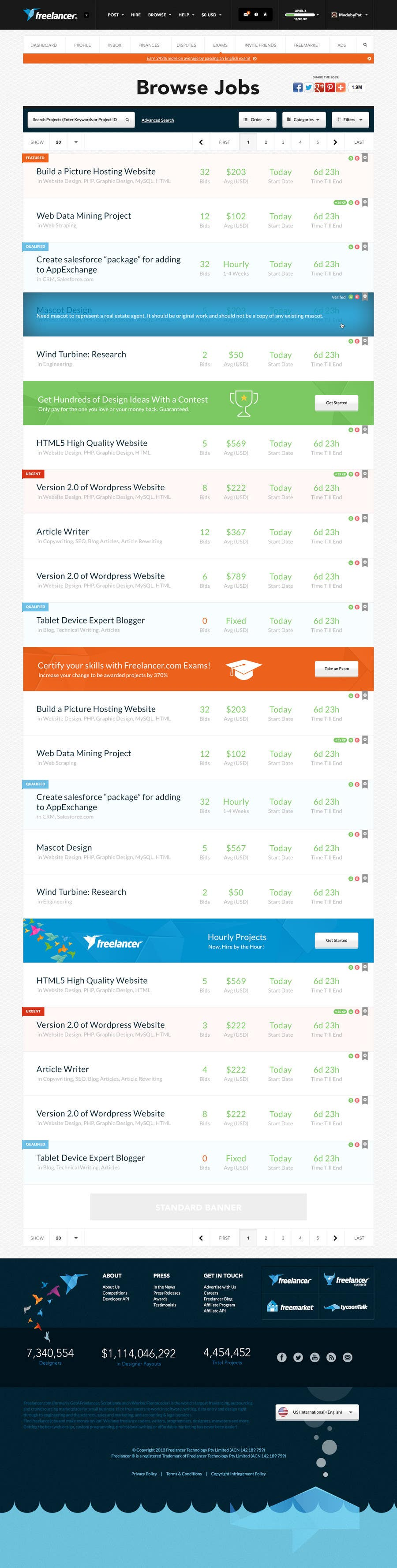 Contest Entry #                                        25                                      for                                         Freelancer.com contest! Design our Browse Jobs Page!