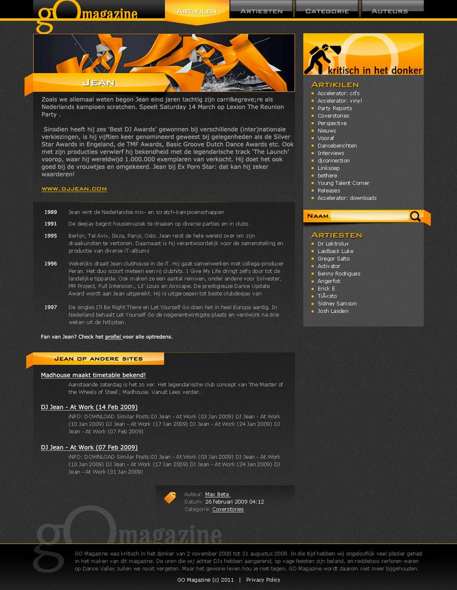 Конкурсная заявка №16 для Website Design for GO Magazine