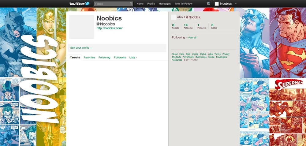 Contest Entry #                                        6                                      for                                         Twitter Background for Noobics Blog