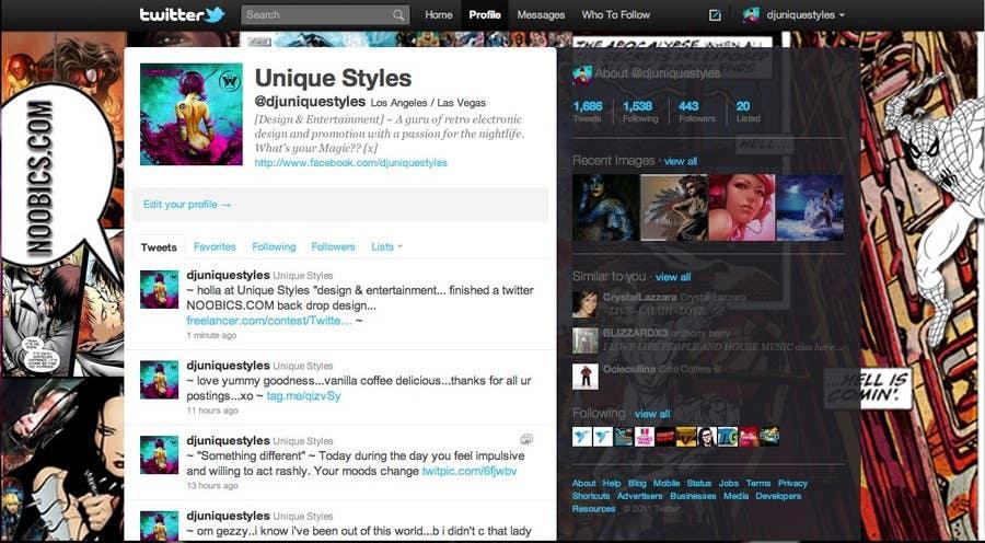 Kilpailutyö #                                        8                                      kilpailussa                                         Twitter Background for Noobics Blog