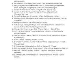 Nro 8 kilpailuun Daftar 100 Judul Artikel Traveling Yang Unik käyttäjältä abdullahgamez