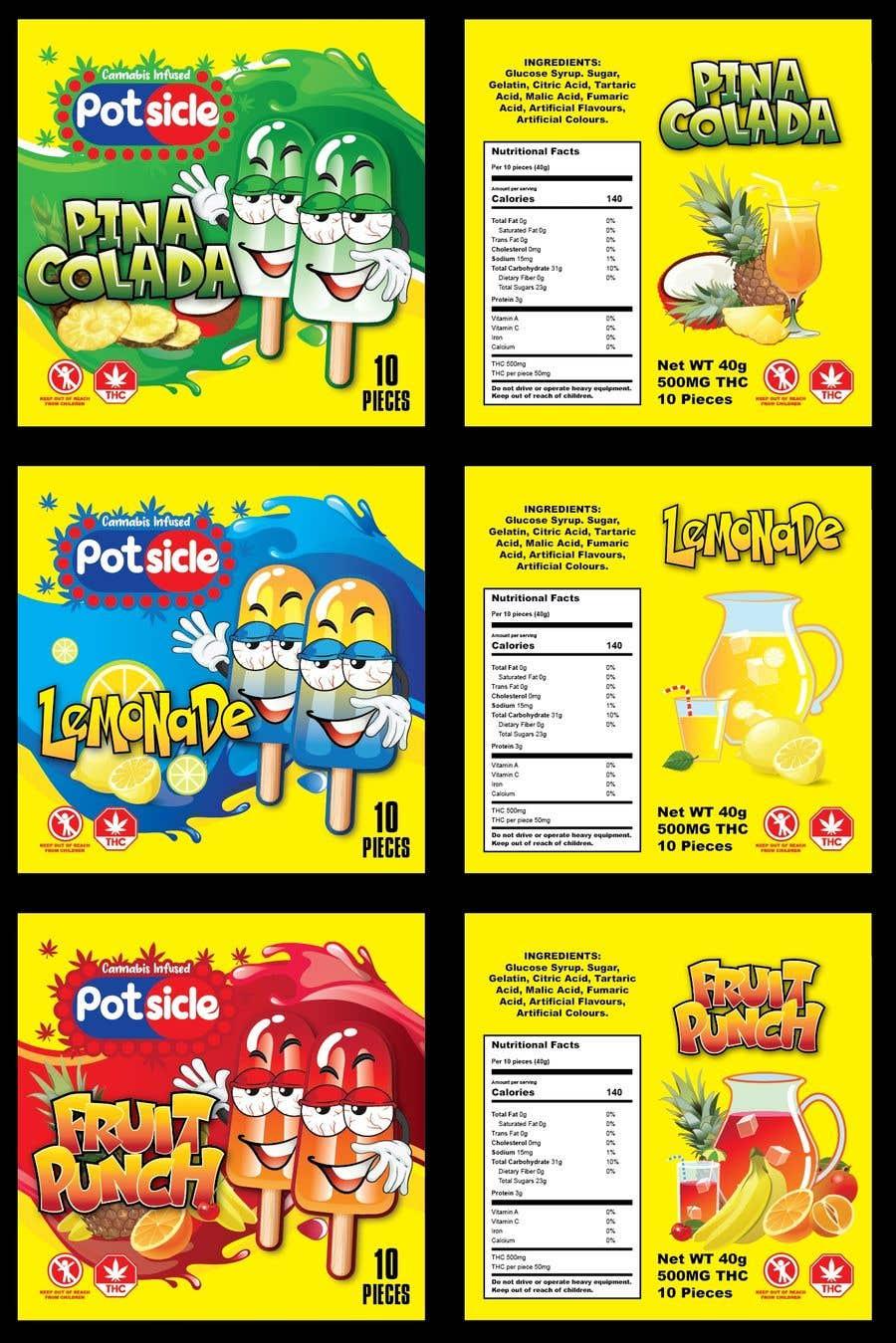 Kilpailutyö #                                        47                                      kilpailussa                                         design for candy packaging- sour popsicle gummies