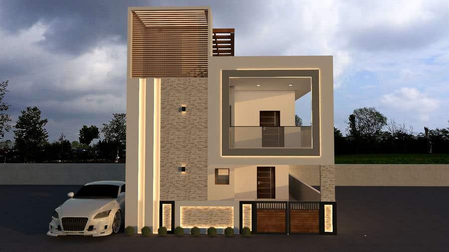 Kilpailutyö #                                        28                                      kilpailussa                                         MODERN G+1 3D EXTERIOR ELEVATION DESIGN