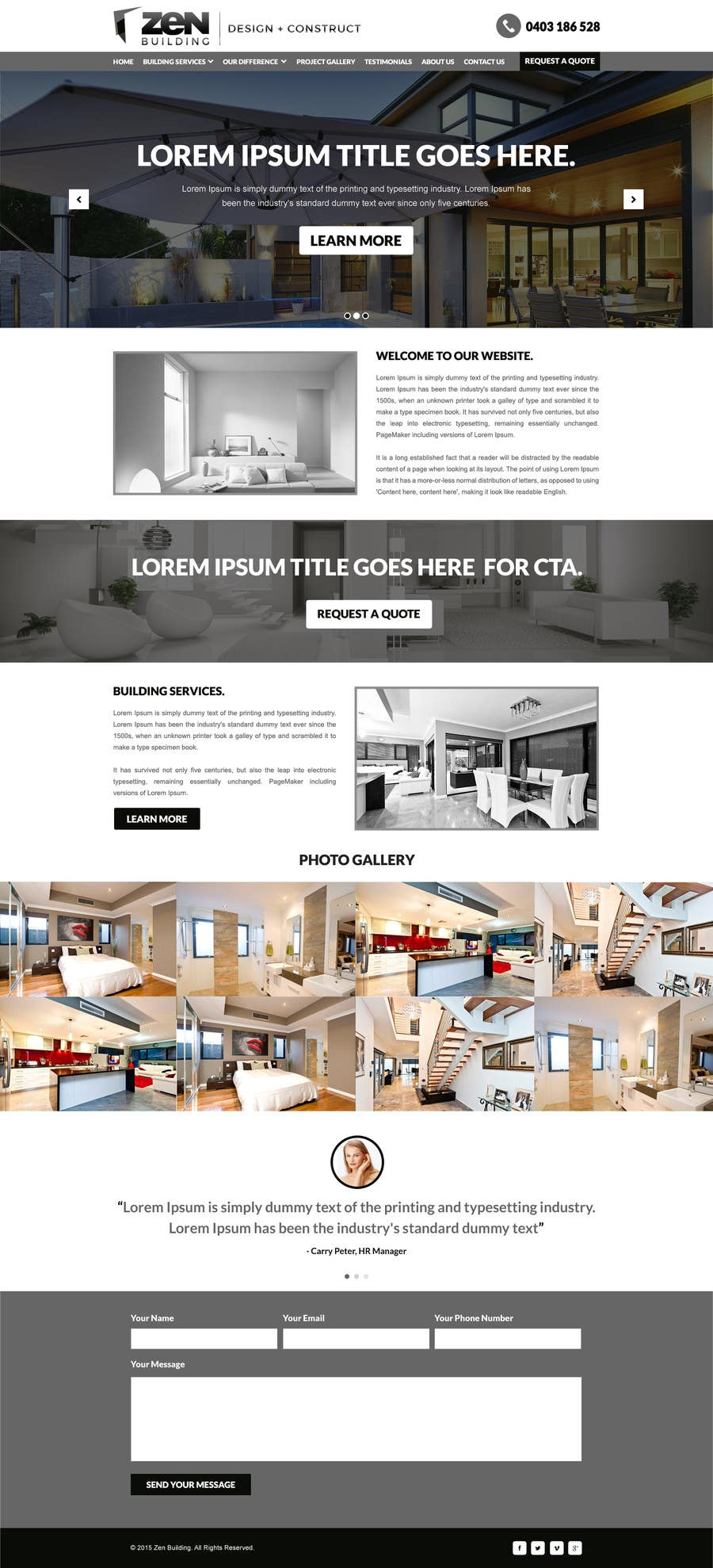 Contest Entry #2 for Design a Website Mockup for Construction Company