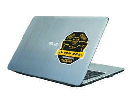 #23 for Design a laptop sticker to show the achievement of a Push-ups challenge, with the target audience software developers/ programmers/hackers. by arifbd12345