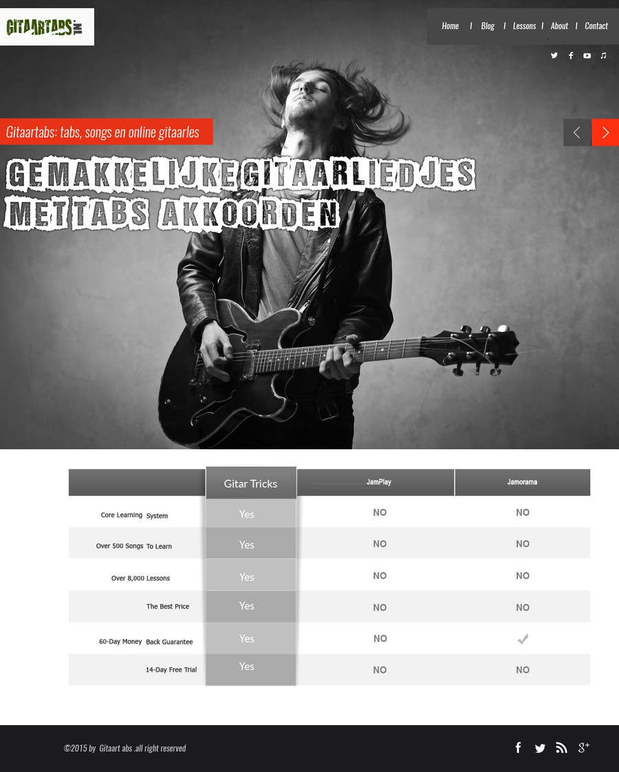 Proposition n°                                        8                                      du concours                                         Design and built Guitarlesson compare website