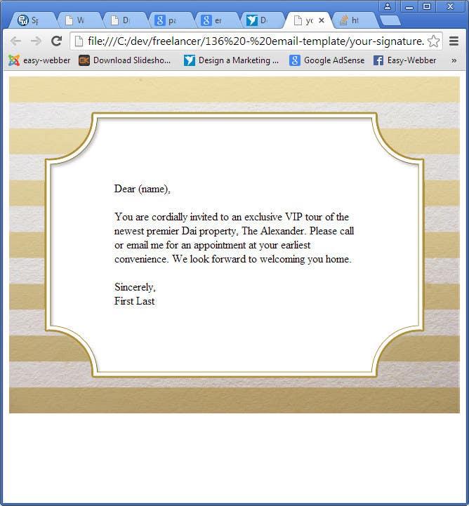 Inscrição nº                                         2                                      do Concurso para                                         Design an Email Template for an Invitation