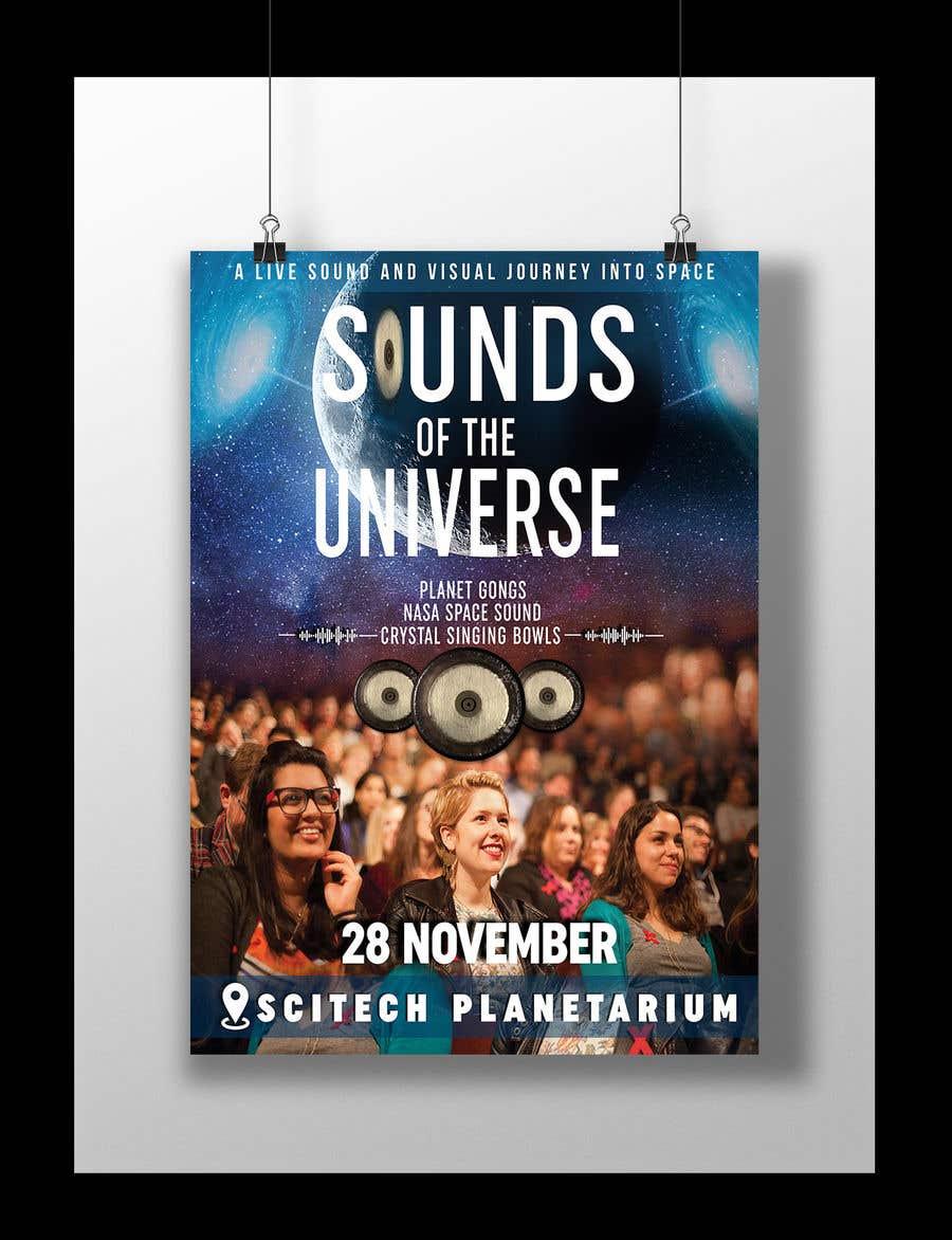 Kilpailutyö #                                        209                                      kilpailussa                                         Design an A3 poster for a live music event with space theme.
