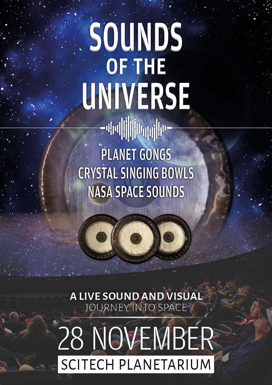 Kilpailutyö #                                        206                                      kilpailussa                                         Design an A3 poster for a live music event with space theme.