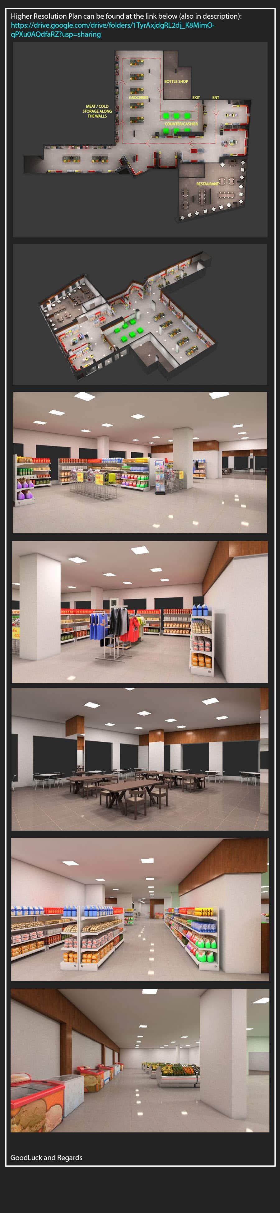 Inscrição nº                                         33                                      do Concurso para                                         Looking for a Supermarket Design/Layout/3D model with a space of 1,499sqm