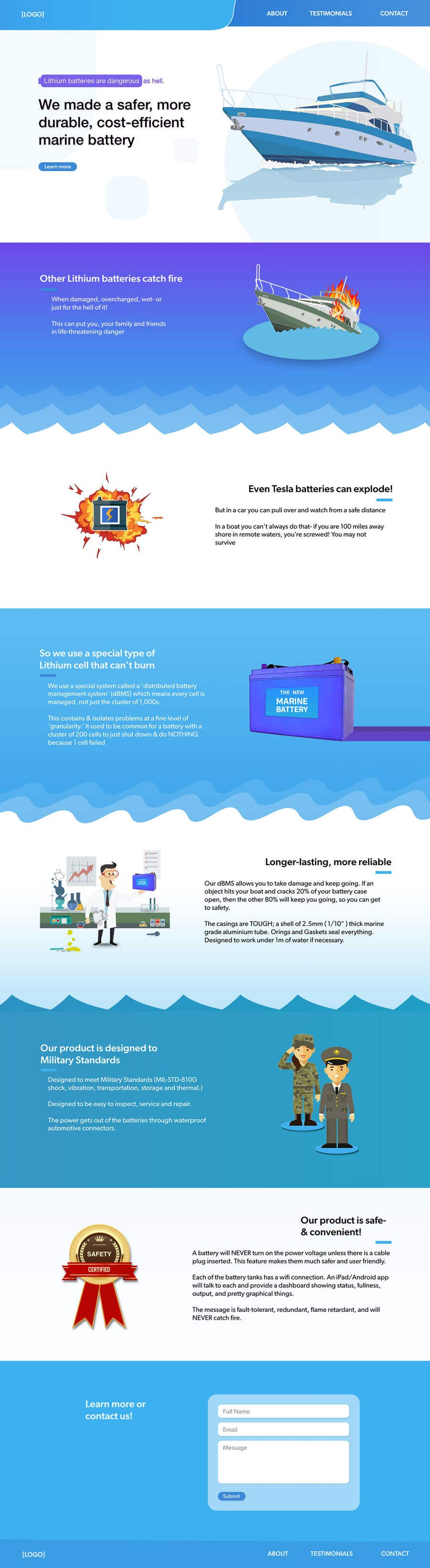 Bài tham dự cuộc thi #                                        63                                      cho                                         Explainer Website for Marine Battery startup product