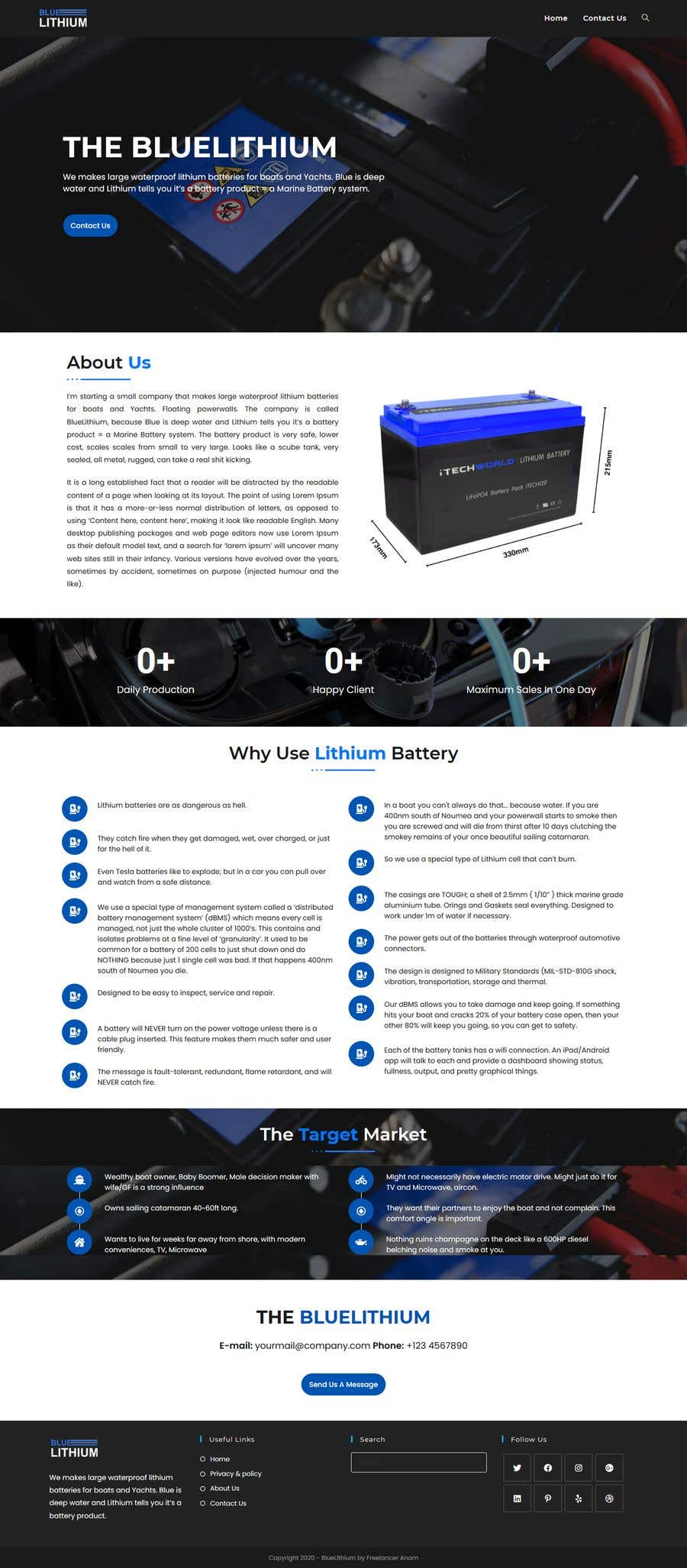 Bài tham dự cuộc thi #                                        24                                      cho                                         Explainer Website for Marine Battery startup product