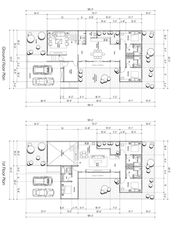 Proposition n°                                        49                                      du concours                                         Build me 2D Floor Plan for 2 Floor house!