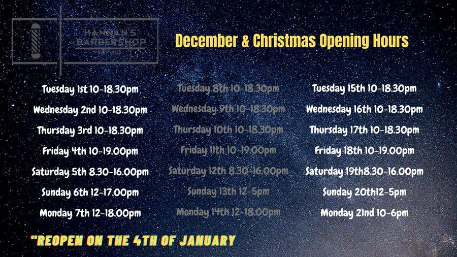 Contest Entry #                                        1                                      for                                         Christmas Opening Hours Graphic Barbershop Business