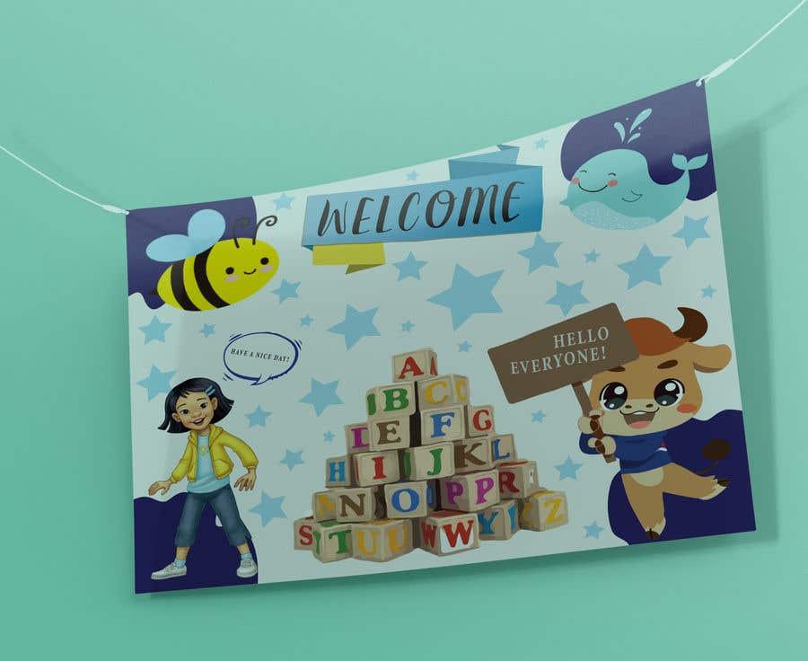 Kilpailutyö #                                        8                                      kilpailussa                                         Design a Printable Backdrop for English Teacher