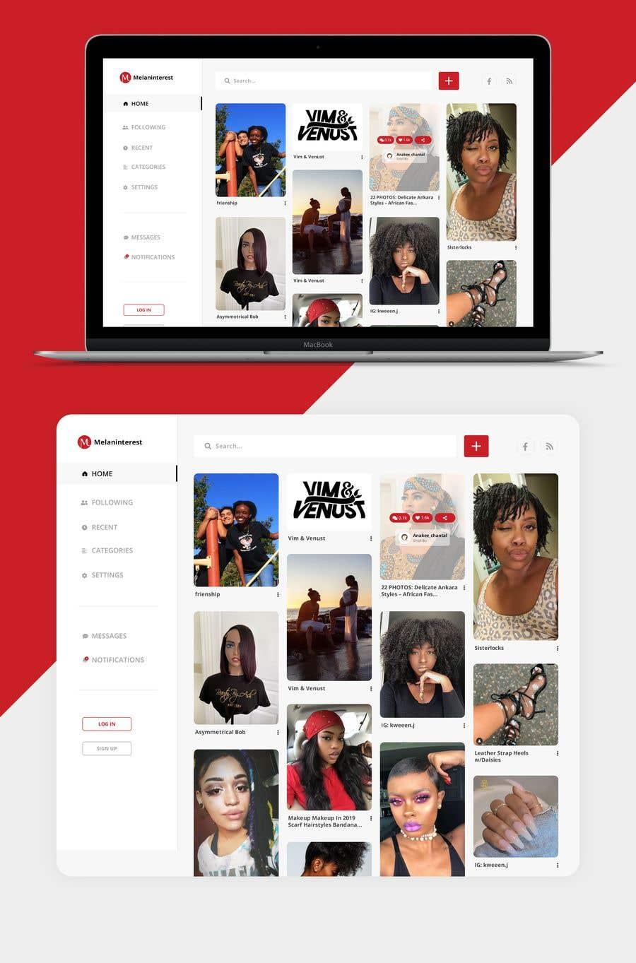 Kilpailutyö #                                        19                                      kilpailussa                                         Redesign Pinterest UI/UX Homepage/Profile page