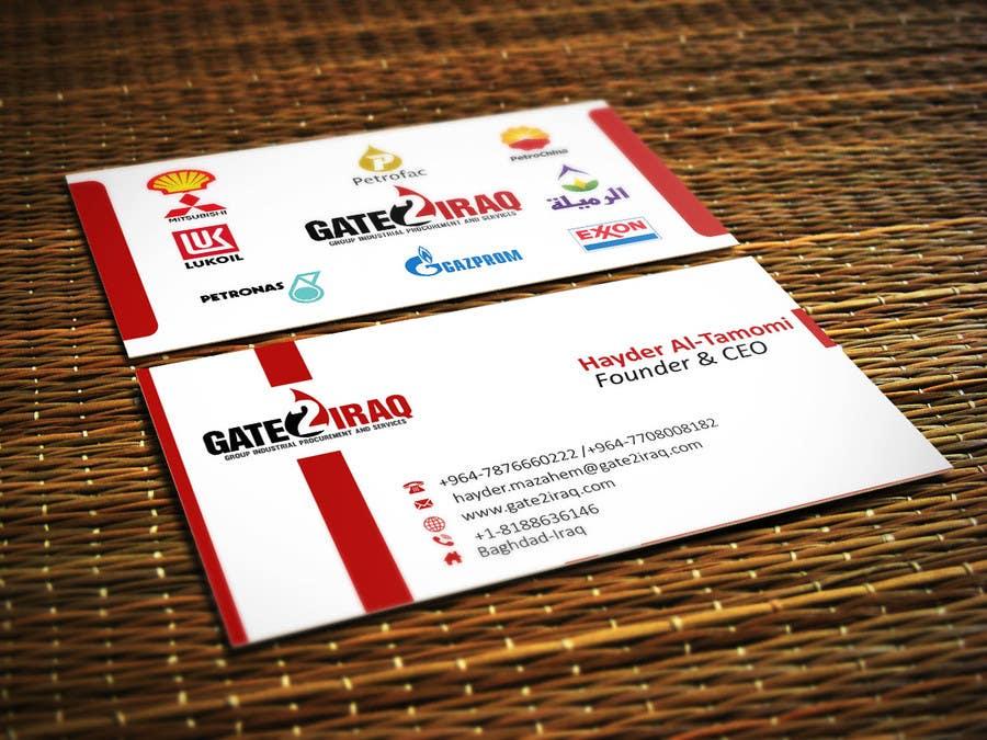 """Intrarea #25 pentru concursul """"Design some Business Cards for Gate2Iraq Group"""""""