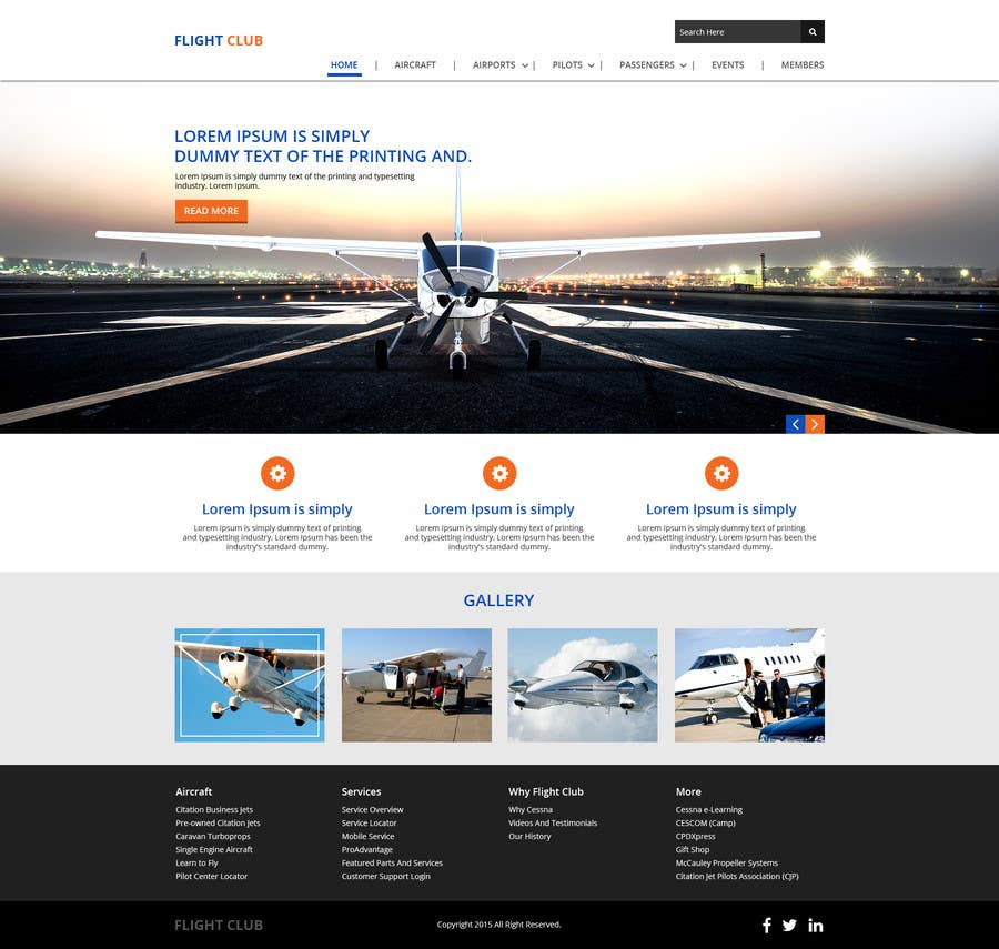 Contest Entry #1 for Design a FUN and AWESOME Aviation Website Design for Flight Club