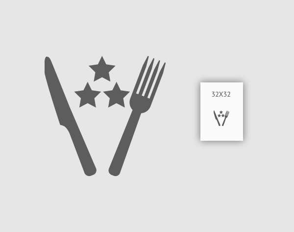 Kilpailutyö #19 kilpailussa Design some Icons for 2-3 star knife and fork