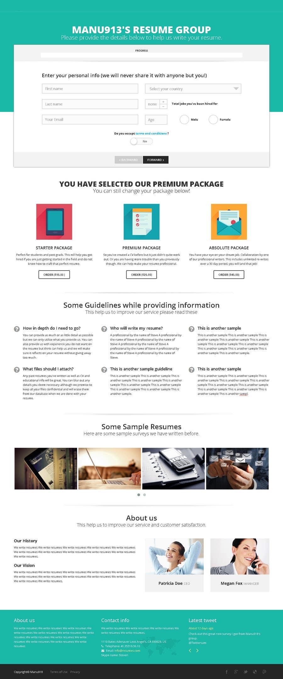 Inscrição nº 8 do Concurso para Resume Writing Services Website