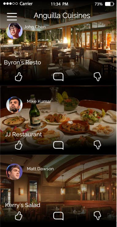 Contest Entry #                                        5                                      for                                         Anguilla Cuisine App UI Mockup