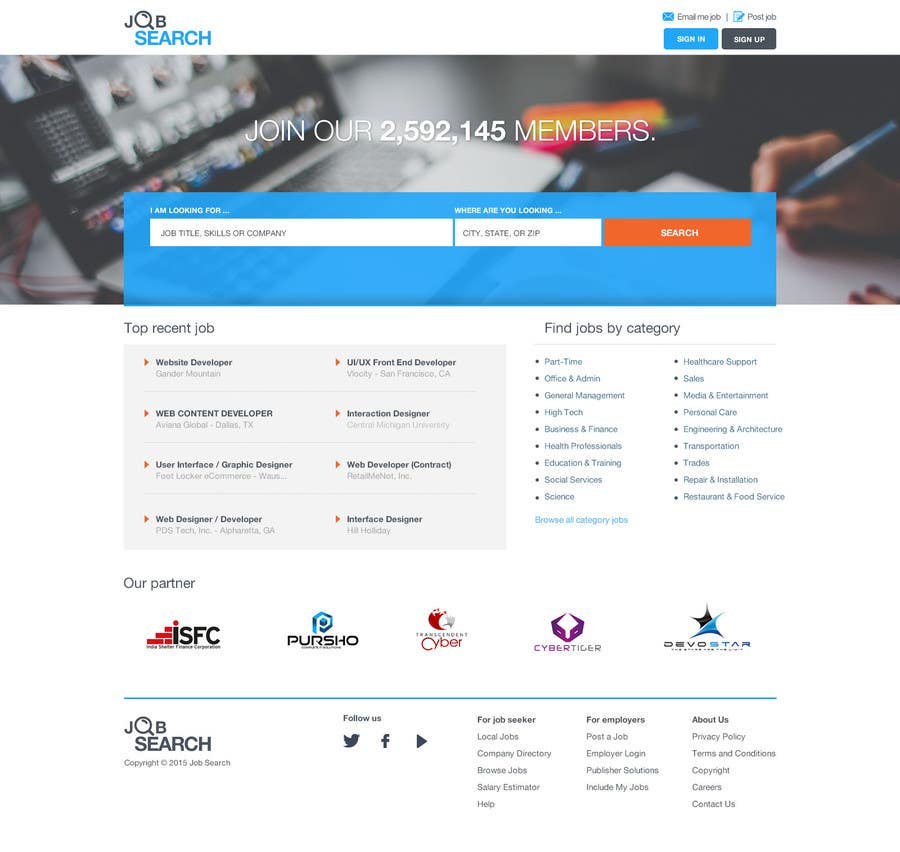 Konkurrenceindlæg #84 for Design a Website Mockup for a Job Search Engine