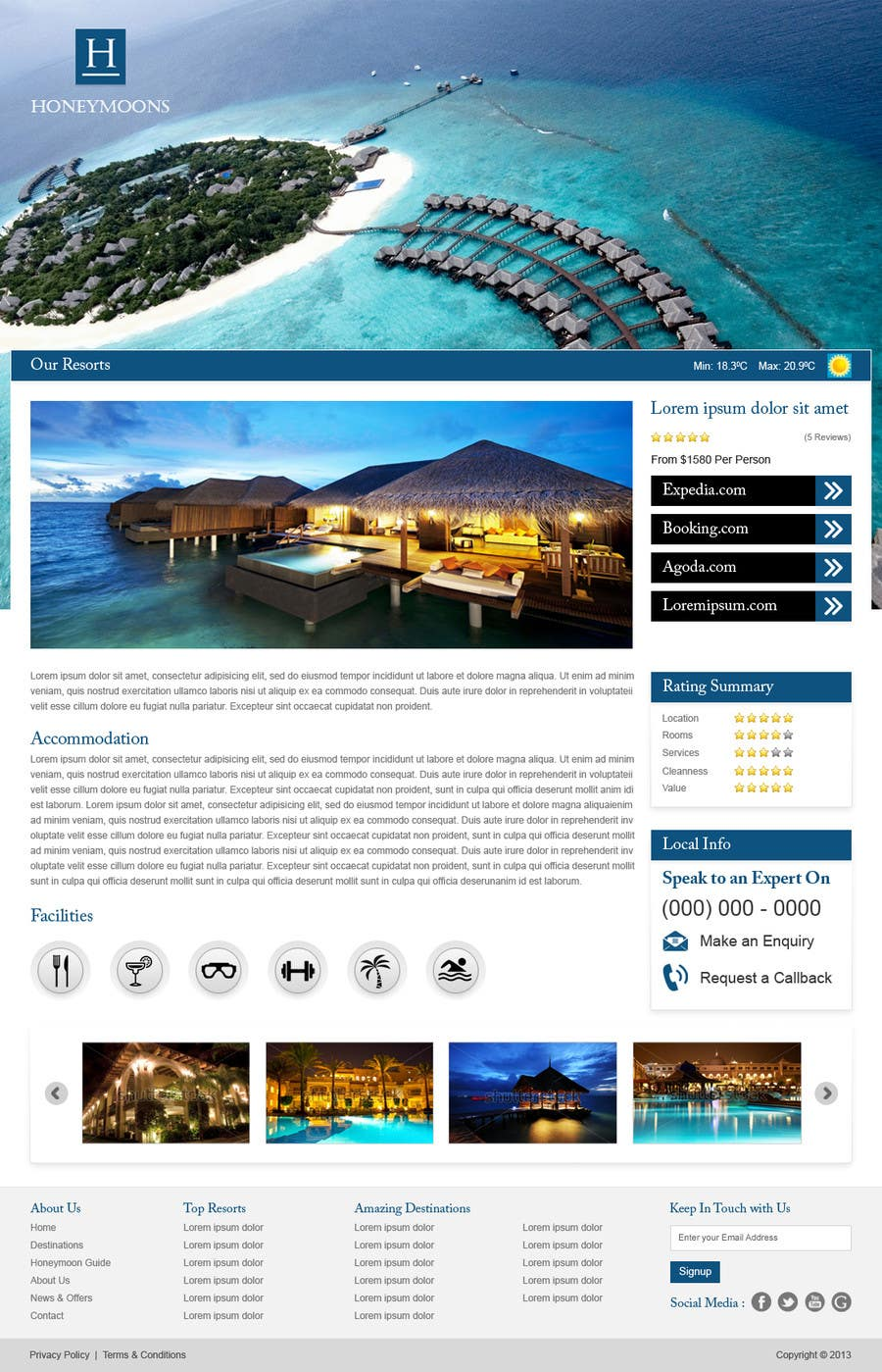 Penyertaan Peraduan #                                        42                                      untuk                                         Website Design for Honeymoons website